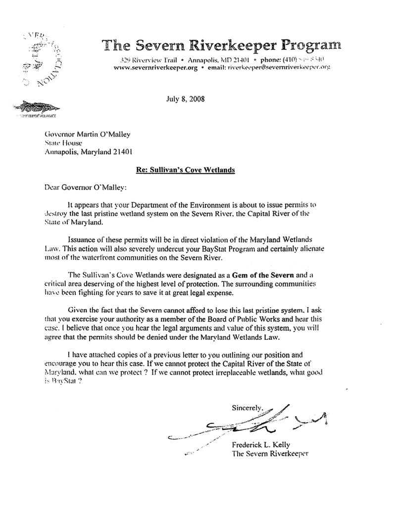 Letter to Governor from the Severn Riverkeeper