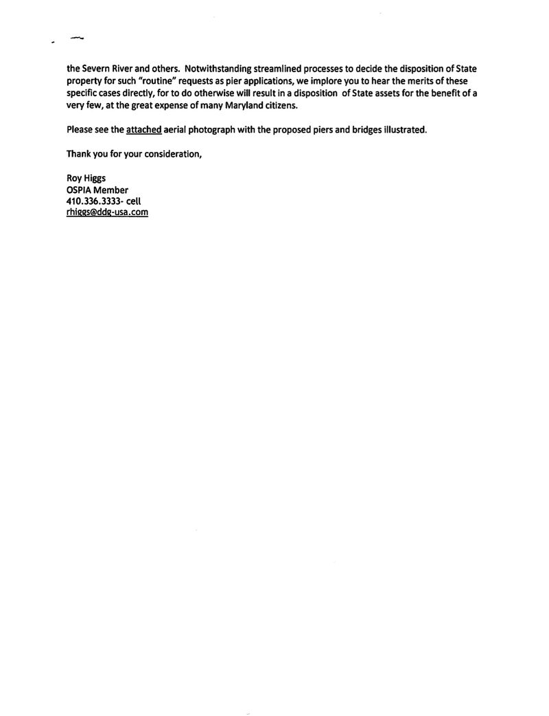 Letter to Comptroller from Roy Higgs